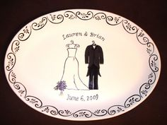 bride & groom personalized plate. love the border