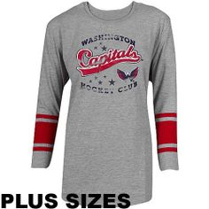 04a49284a Majestic Washington Capitals Women s Plus Size 3 4 Striped Sleeve T-Shirt  by Profile