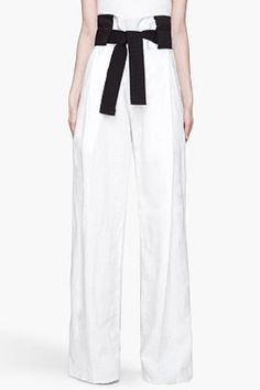 DENIS GAGNON White high waisted linen and leather trousers
