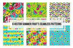 Summer Fruits Patterns. Art Background, Wall Art, Summer Clipart, Vector Sweet Food Digital Ornament