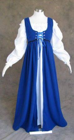 Ren Faire Dress Medieval Renaissance Costume LARP Blue Gown w Long Chemise Renaissance Costume, Renaissance Dresses, Medieval Costume, Fantasy Dress, Fantasy Clothes, Fantasy Story, Costume Dress, Gown Dress, Medieval Gown