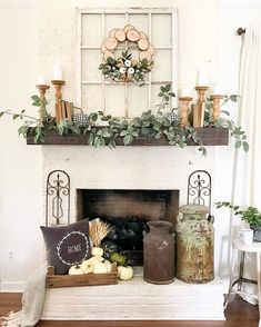 96 Beautiful Farmhouse Fireplace Mantel Decorations That Will Make – Farmhouse… - Fireplace Decor Home Living Room, Living Room Designs, Rustic Living Rooms, Farmhouse Living Room Decor, Living Room Mantle, Coastal Living, Living Area, Farmhouse Fireplace Mantels, Above Fireplace Decor