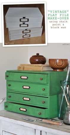 Tutorial: Boring new document drawers get an amazing vintage makeover using nothing more than paint and wax - you have to see the close-up pics!