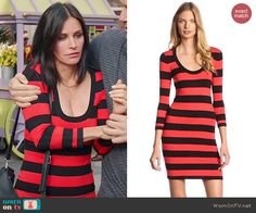 Jules's red and black striped long sleeve dress on Cougar Town.  Outfit Details: http://wornontv.net/46721/ #CougarTown