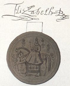 Elizabeths signature as queen (R for Regina) above her great seal. This is an extract for her signature on Mary, queen of Scots death warrant