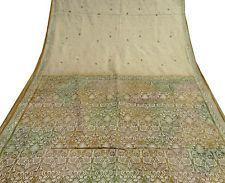 Vintage India Art Silk Saree Fabric Embroidered Sarong Soie Wrap Deco Beige Sari