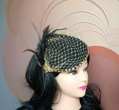 Gold and Black Felt Fascinator with Veiling, Feathers and Paillettes - Glitter - Christmas Gift - XMas - New Years Eve - JCN by JCNfascinators on Etsy
