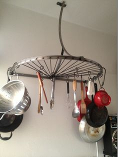 Bicycle Pot Rack. by SteveFabricatdArts on Etsy https://www.etsy.com/listing/173837060/bicycle-pot-rack