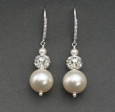 Pearl Bridal Earrings Rhinestone and Pearl by LizardiBridal