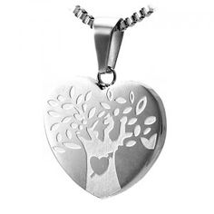 Stainless Steel Heart Life Engraving Pendant