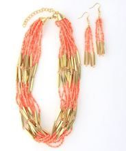 Peach Coral Statement Necklace and Earrings Set      Would look so cute with white and khakis for beach pic!