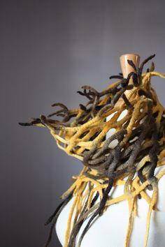 Felted scarf wool Yellow Brown Fish net network epictt teamb HMET