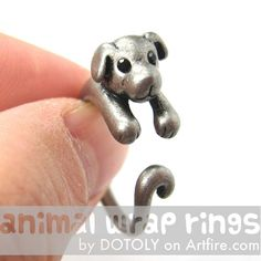 The cutest puppy face & only $10 on Artfire.com Realistic Puppy Dog Animal Pet Wrap Around Ring in Silver Sizes 4 to 9 | animalwraprings - Jewelry on ArtFire
