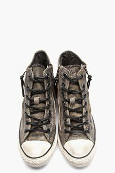 oh goodness, these are cool. CONVERSE BY JOHN VARVATOS // DARK GREY SNAKESKIN SUEDE ZIPPERED CONVERSE X ALL STAR HIGH-TOP SNEAKERS