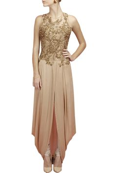 Gold embroidered pre stitch dhoti gown with churidaar available only at Pernia's Pop-Up Shop.
