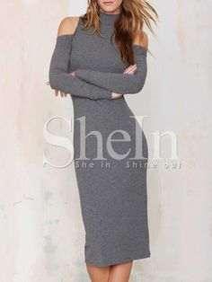 Grey Long Sleeve Cold Shoulder Sheath Dress