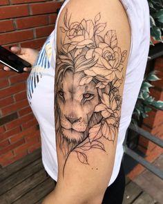 Lion Head Tattoos, Top Tattoos, Girl Tattoos, Tatoos, Sleeve Tattoos, Lion Tattoo With Flowers, Lion Flower, Flower Tattoos, Beautiful Lion