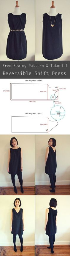 Free sewing pattern - reversible shift dress. The dress can be worn 2 ways: pleated crewneck or v-neck!