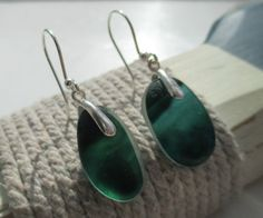 Green End Of Day Sea Glass Sterling Silver Earrings by SeahamWaves
