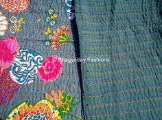 Cotton kantha quilt,sari indian blanket Textile Nakshi Embroidery Bedcover Thread Work Ralli Handmade Tapestery bedding bedspreads Gudari by Bhagyodayfashions on Etsy