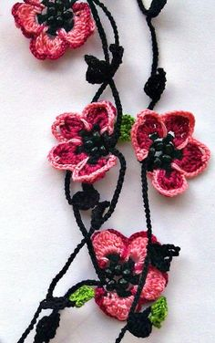 Crochet Necklace Cherry Blossom Burgundy Pink Flowers Oya Beaded Lariat Jewellery, Beadwork, Crochet ReddApple, Gift Ideas for Her Crochet Motifs, Bead Crochet, Irish Crochet, Crochet Lace, Crochet Hooks, Crochet Necklace, Crochet Patterns, Boho Flowers, Crochet Flowers