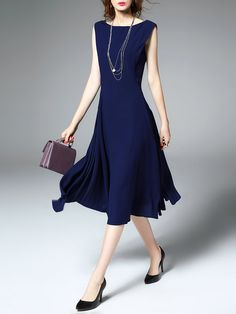 Dark Blue Gathered Sleeveless A-line Polyester Midi Dress