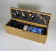 Personalized Bamboo Wine Box Weddings by BlueFireEngraving