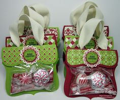 Stampin' Up! Christmas  by Becky Roberts at Inking Idaho: Top Note Candy Purses - Christmas