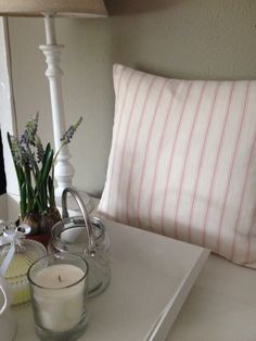 Pink Ticking Cushion