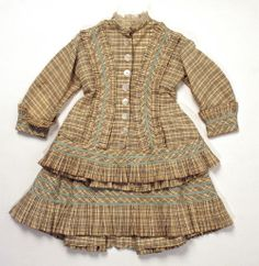 1875-1879 Fawn check dress