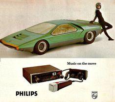 Music on the Move -  PHILIPS / Alfa Romeo 1973 Car Audio, Alfa Romeo, Vintage Ads, Music, Musica, Musik, Muziek, Music Activities, Songs
