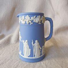 Wedgwood Blue Jasperware Cream Pitcher  4 1/4 inches tall