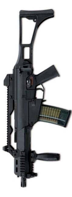 HK G36C 'Compact' or 'Commando' assault rifle, with optional Picatinny rails on forend.