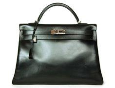 b484483c429 Hermes Black Box Leather 40cm Kelly w. Palladium Hardware Kelly Bag