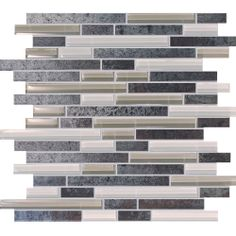 Metal Porcelain and Glass Random Strip Mosaic 12inx12in $8.99 s/f