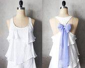 SEASIDE AURA - Romantic white flowy tier blouse // pastel mint green // chiffon sash bow // tunic // tank top // racerback. $42,00, via Etsy.