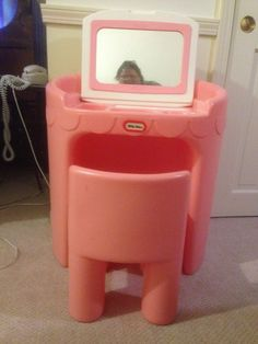 Girls Pink Little Tykes Child's Toy Vanity with Mirror and Chair