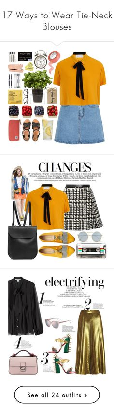 """17 Ways to Wear Tie-Neck Blouses"" by polyvore-editorial ❤ liked on Polyvore featuring waystowear, tieneckblouses, Boskke, Illesteva, Martha Stewart, Byredo, Kiehl's, Comodynes, Tom Dixon and CB2"