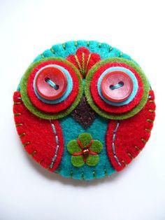 ES771/103  Baby Owl Handmade Felt Brooch by designedbybettyshek, £11.00: