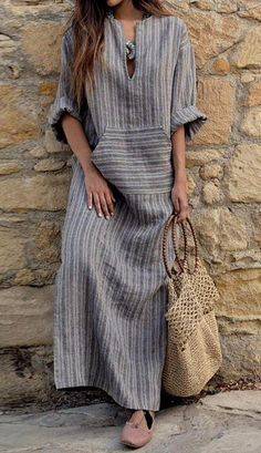 2018 Autumn Women Striped Dress Sexy V Neck Long Sleeve Maxi Long Dresses Vintage Casual Loose Plus Size Vestidos Linen Dresses, Women's Dresses, Dresses Online, Vintage Dresses, Fashion Dresses, Summer Dresses, Dress Outfits, Vestidos Vintage, Dress Shoes