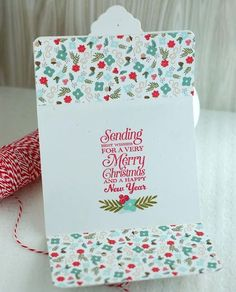 Tri-fold card.  Christmas.  Papertrey Ink Tinsel and Tags kit