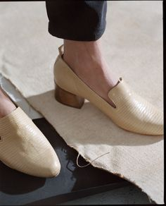 The model launches her eponymous brand of loafers and mules this week.