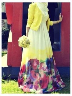 Flower print dress and yellow blazer | hijab