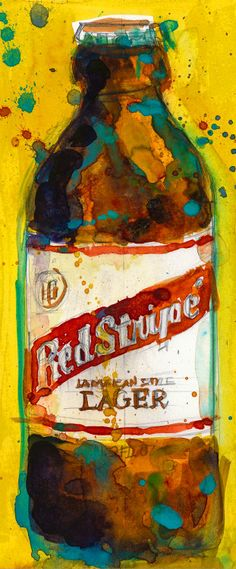Red Stripe Jamaican Style Lager Beer Art Print from Original Watercolor (Print Size - 8.5 x. 11) and (Print Size - 10 x 20)