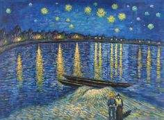 Vincent van Gogh Starry Night Over the Rhone 2 art painting for sale; Shop your favorite Vincent van Gogh Starry Night Over the Rhone 2 painting on canvas or frame at discount price. Vincent Van Gogh, Van Gogh Art, Art Van, Van Gogh Pinturas, Art Amour, Van Gogh Paintings, Famous Paintings Monet, Famous Landscape Paintings, Famous Artwork
