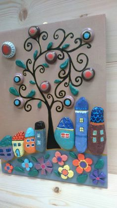 Pebble Art Happy Village Handpainted stones Stone by StefArtStone decoracion ideas pared Seashell Painting, Pebble Painting, Stone Painting, Rock Painting Supplies, Rock Painting Ideas Easy, Stone Crafts, Rock Crafts, Toddler Arts And Crafts, Painted Rocks