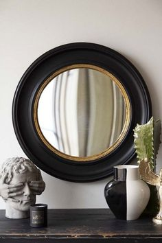 Black Convex Mirror With Aged Gold Detail from Rockett St George Mirror Painting, Mirror Art, Round Wall Mirror, Round Mirrors, Unique Mirrors, Beautiful Mirrors, Black And White Vase, Black Table, Hallway Pictures