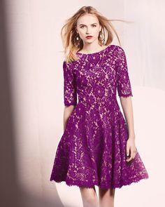 ML Monique Lhuillier Lace Jewel-Neck Fit-and-Flare Dress - Neiman Marcus