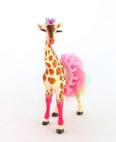 This is a Custom Order Giraffe. You tell me your party colors, and I will make you a custom giraffe with tutu, leg warmers, and hat/crown. She will also have eyelashes, and lipstick. Bring some fun to your next party or event with these whimsical animals. Colorful Birthday, Colorful Party, Neon Party, Giraffe Birthday, Zoo Birthday, Birthday Cakes, Happy Birthday, Princess Theme Party, Animal Party
