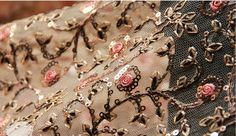 Embroidered lace fabric with gold sequin pink floral by Retrolace